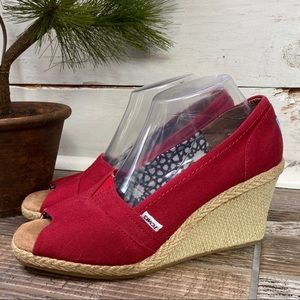 Toms Red Canvas Open Toe Espadrilles Slip On Wedge
